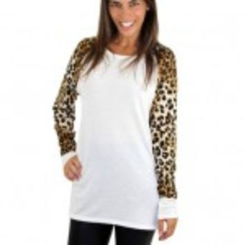 Ivory Top With Animal Print Sleeves