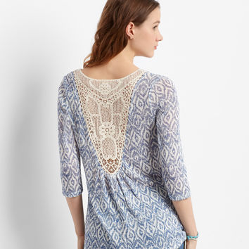 Aeropostale  3/4 Sleeve Sheer Ikat Crochet-Back Top