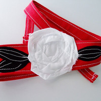 Black, Red and White Headbands, School Colors, High School, College, Arkansas, Georgia, Texas Tech, North Carolina State