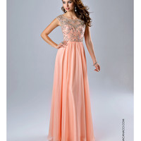 Preorder - Nina Canacci Gorgeous Peach Open Back Dress Prom 2015