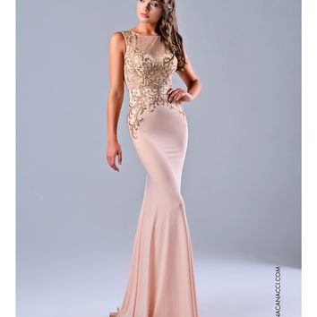 Preorder - Nina Canacci Peach Sheer Bodice Dress Prom 2015