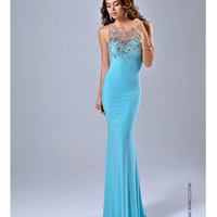Preorder - Nina Canacci Fitted Aqua Blue Embellished Gown Prom 2015