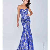 Preorder - Nina Canacci Strapless Royal Blue Mermaid Gown Prom 2015