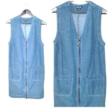 90s GRUNGE denim dress / vintage early 1990s MINIMALIST zip up overall blue jean CHAMBRAY jumper small