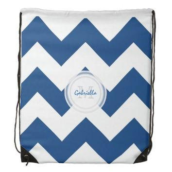 Monogram Blue And White Chevron Print Backpack