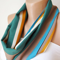 Infinity Scarf Loop Scarf Circle Scarf Cowl Scarf Soft Stripe loop  handmade from green, saffron and  cream coton linen