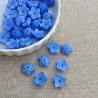 15 pcs, Bead Caps, Sky Blue, Plastic, Flower, DIY Jewelry, Jewelry Supply, A0044