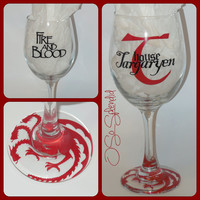 Game of Thrones Inspired Wine Glass - House Targaryen Wine Glass - Sip in style!