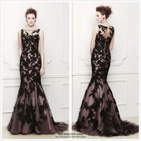Long Black Applique Lace Evening Formal Prom Party Cocktail Dresses Wedding Gown