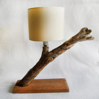 wonderful driftwood lamp - DOWNWIND with beautiful lampshade