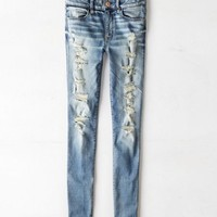AEO Women's Mid-rise Jegging Ankle (Painted Topaz Destroy)
