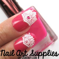 White Lace and Rhinestone Princess Crown Nail Art Decal from nailartsupplies