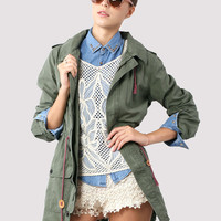 Amygreen Military Style Hooded Parka Coat - Outers - Retro, Indie and Unique Fashion