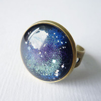 Galaxy Ring, Adjustable Ring, Cosmic Ring, Stars Ring