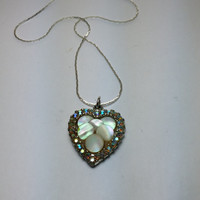 Mother of Pearl and Blue Aura Borealis Rhinestone Heart Silver Tone Necklace
