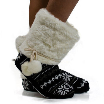 PJ Salvage Snowflake Boot Slippers