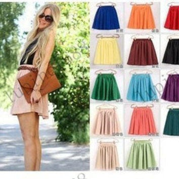 New High Waist Pleated Double Layer Chiffon Short Shirred Skirts Mini Pompon
