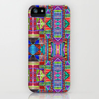 Tribal Patchwork Blue iPhone Case by Amy Sia | Society6