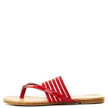 Sheer-Striped Banded Thong Sandals by Charlotte Russe - Red