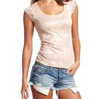 Strappy Back Lurex Lace Tee: Charlotte Russe