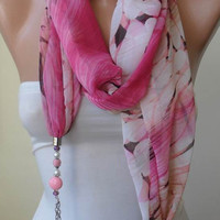 Scarf Necklace - Jewelry Scarf - Pink and Beige Chiffon Fabric - with Beads and Chain - Trendy - Fashion