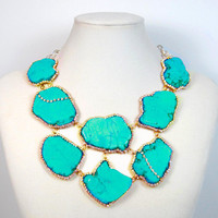 Statement Necklace Aqua Blue Turquoise and Crystal statement necklace