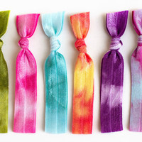 The Boho Tie Dye Hair Tie Package - 6 Elastic Tie Dye Hair Ties that Double as Bracelets by Mane Message on Etsy