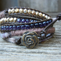 Brown Purple Beaded Leather 5 Wrap Macrame Bracelet with Czech Glass Beads Lilac Stone on Brown Leather