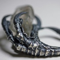the messenger crow claw & quartz crystal ring by BloodMilk on Etsy