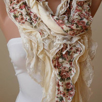 Autumn Trend - Cotton Ruffle Scarf - Lace Scarf - Cotton Scarf - Gift - Autumn - Fall