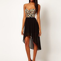 Motel Chika Bandeau Hi Lo Dress in Leopard Print at asos.com