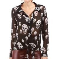 Black/White Skull Print Tie Front Top