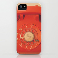 iPhone 5 Case, iPhone 5, vintage telephone, orange dial phone, case for iPhone 5, dial telephone, bomobob, retro modern, iPhone accessory