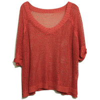 Hollow-Carved Twinkle Pearly-Lustre Brick-Red Jumper [NCSWU0235] - $44.99 :