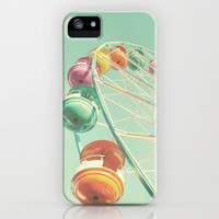 iPhone 5 Case, iPhone 5, case for iPhone 5, ferris wheel, autumn fair, cotton candy, tangerine, pink, teal, carnival
