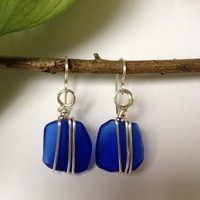 Non Tarnished Silver Blue Glass Earrings