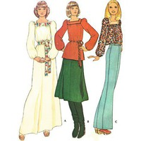 Vintage Dress Puff Sleeve Maxi Sewing Pattern Square Neck Tunic Blouse