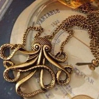 octopus  necklace-antique brass