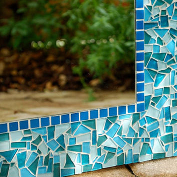 Teal Mosaic Mirror, Custom