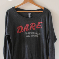 Off the Shoulder DARE Sweatshirt from Night of the Living Threads