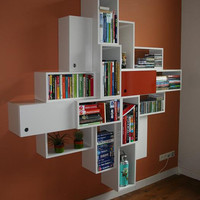 Symmetric designed bookcase with 16 squares