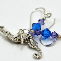 Sterling Silver Seahorse Charm with Purple and Blue Swarovski Earrings