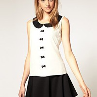 Retro To Go: Sleeveless Peterpan Collar Bow Blouse