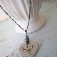 Heart Necklace with Bird - Stone by 636designs