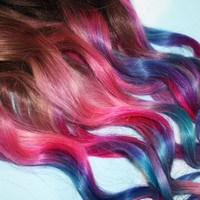 Pastel Tie Dye Tip Extensions, Dark Brown/Black, 22 inches long, Clip In Hair Extensions, Hippie Hair, Dip Dyed Tips