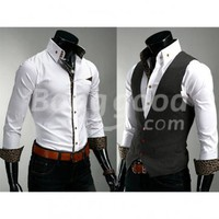 New Trendy Stylish Casual Slim Fit Long Sleeved Men's Shirt Free Shipping!  - US$12.99