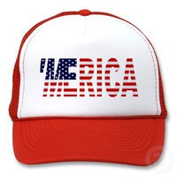 &#x27;MERICA US Flag Trucker Hat (red) from Zazzle.com