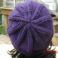 Handmade Hand Knit Hat - Elfin in purple - Unisex slouchy hat - Spring, Fall, Winter Accessories -Immediate Shipping