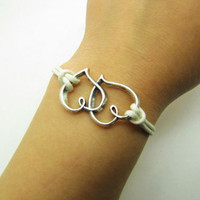 White Rope Steampunk Bracelet Heart to Heart adjustable Vintage silver UnisexBow and Heart to Heart Bracelett 1186S