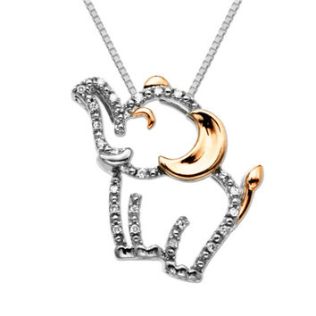 Diamond Accent Happy Elephant Pendant in Sterling Silver and 14K Rose Gold